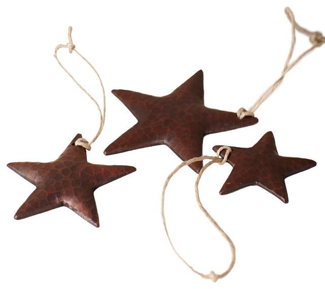 Copper Christmas Ornaments.Copper Star Ornaments Set Of 3
