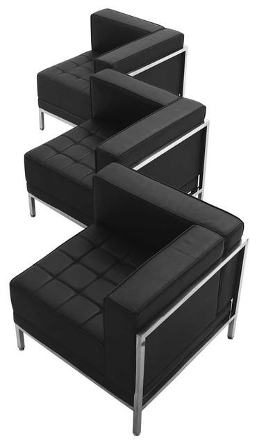 Flash Furniture Black Leather 3 Piece Corner Chair Set.