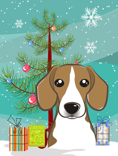 Christmas Tree and Beagle Flag, Garden Size - Contemporary - Outdoor Holiday Decorations - by the-store