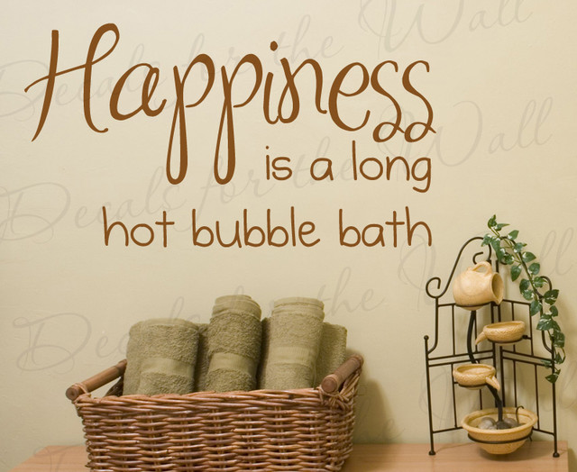 Wall Decal Sticker Quote Vinyl Art Happiness Is A Hot Bubble Bath - Vinyl vinyl wall decals bubbles