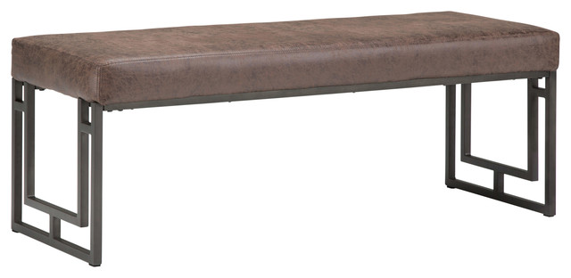 "Trey 48"" Ottoman Bench, Distressed Cocoa Brown Air Faux Leather. -1"