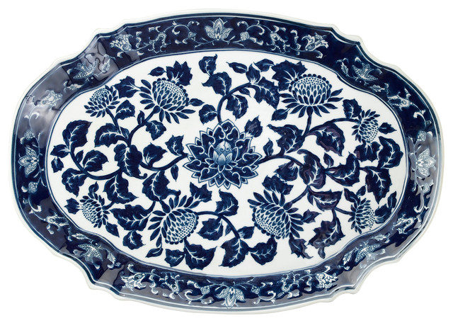Blue And White 18 Quot Platter Asian Serving Dishes And