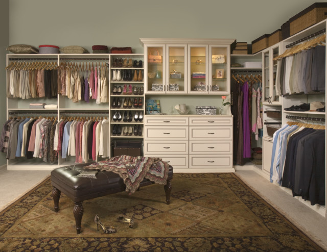 White Closet With Built In Cabinets Traditional