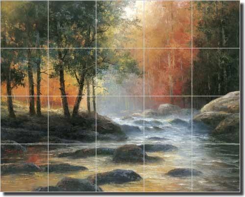 Marble Bedroom Set >> Ceramic Tile Mural Backsplash Chiu Mountain Stream ...