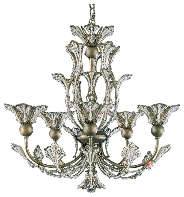 Rivendell 5 Light Chandelier In Antique Silver With Clear Spectra Trim  victorian-chandeliers - Rivendell 5 Light Chandelier In Antique Silver With Clear Spectra