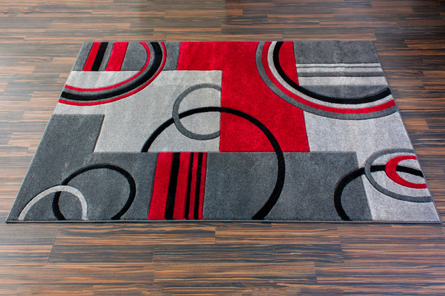 Miro Rug, Gray And Red, 7&x27;10 X 9&x27;10.