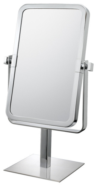 Rectangular Free Standing Mirror With 3x and 1x Magnification, Chrome