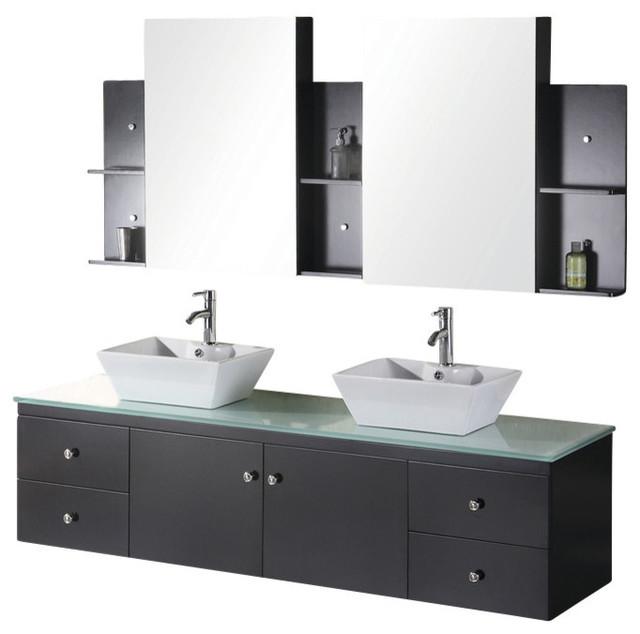 Portland Double Sink Wall Mounted Vanity Set Espresso 72