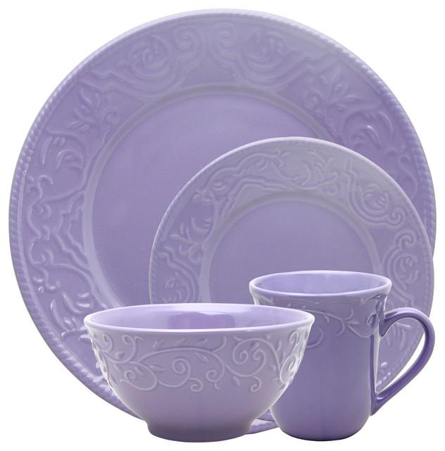 Elama Lilac Fields 16-Piece Dinnerware Set - Traditional ...