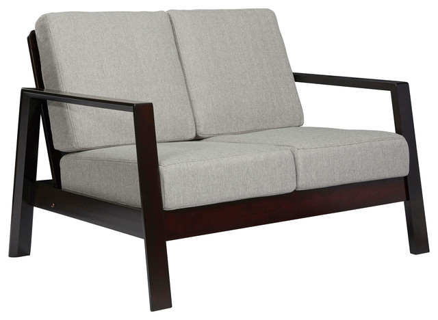 Carlyle Mid Century Modern Loveseat With Exposed Wood Frame, Dove Gray Linen.