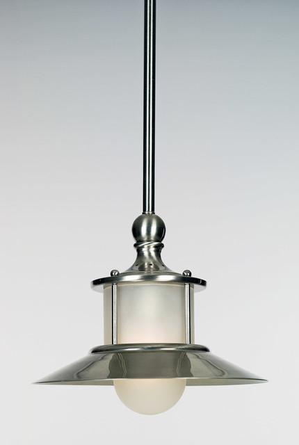 New England 1-Light Mini Pendants, Brushed Nickel.