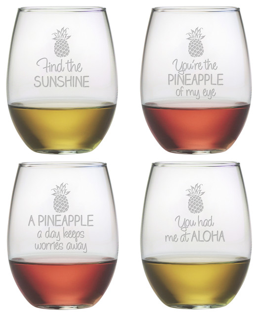 Pineapple Talk 4-Piece Stemless Wine Glass Set