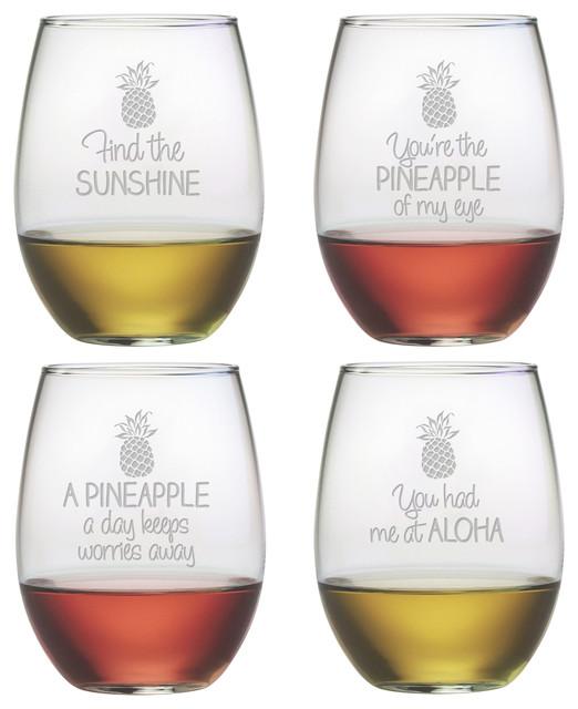 Pineapple Talk 4-Piece Stemless Wine Glass Set
