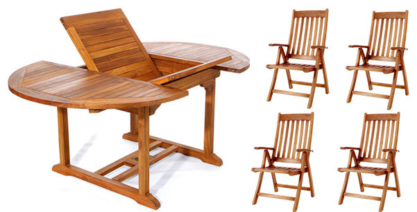 folding outdoor dining set outside 5piece set teak oval extension table folding arm chair
