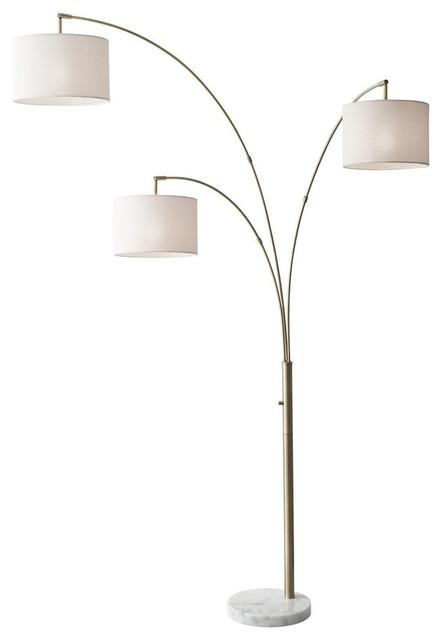 Bowery 3 Arm Arc Lamp, Brass.