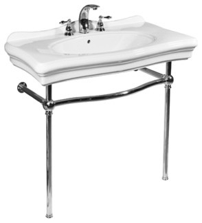 Renaissance White Console Lavatory And Polished Chrome Stand.