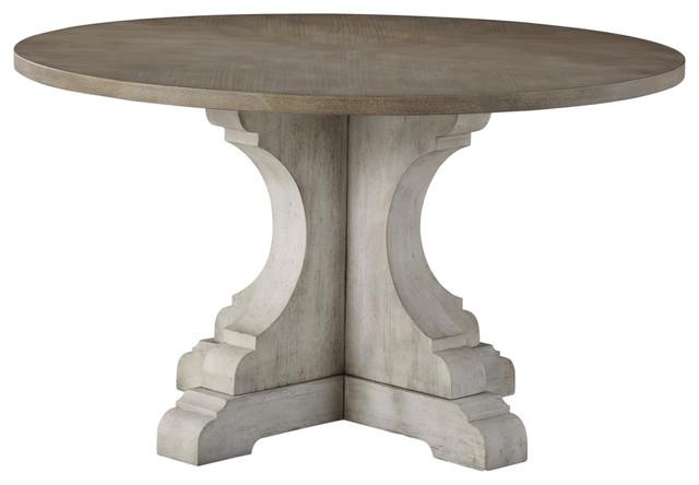 Standard Furniture Dakota Pedestal Round Dining Table, Two Tone 19741