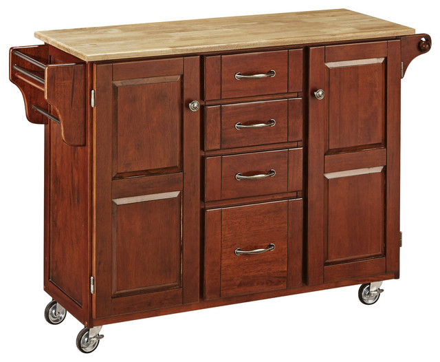 Oxford Cherry Kitchen Cart Transitional Kitchen Islands And Kitchen Carts By Home Styles