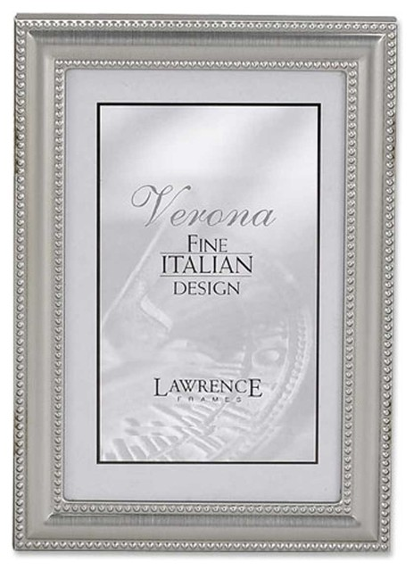 5x7 metal picture frame pewter finish with delicate beading traditional picture frames