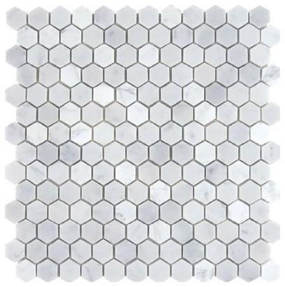 12 X12 Bianco White Carrara Hexagon Polished Marble Mosaic Small Piece Sample Traditional