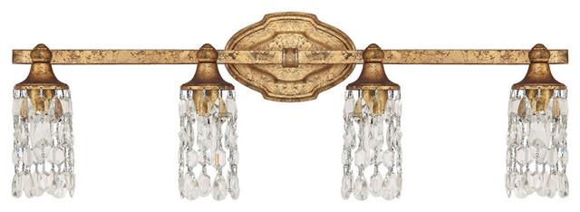Blakely 4-Light Bathroom Vanity Lights, Antique Gold.