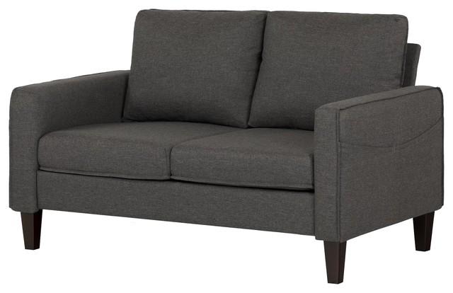 South Shore Live-It Cozy Sofa, 2-Seat, Charcoal Gray.