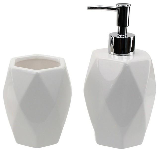 lena 2-piece bathroom set, white - contemporary - bathroom
