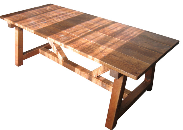 Charming Reclaimed Wood Trestle Table Farmhouse Dining Tables