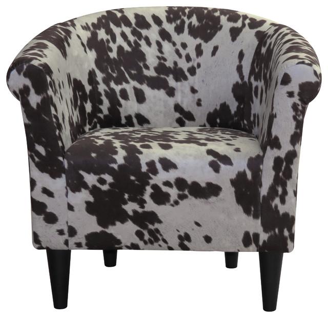 Savannah Club Chair, Tan Cow Print Contemporary Armchairs And Accent Chairs
