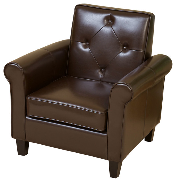 GDF Studio Barzini Leather Club Chair, Brown by GDFStudio