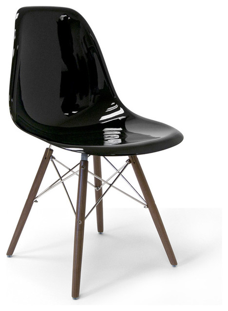 Molded Fiberglass Side Chair With Wood Legs, Black Gloss Modern Dining  Chairs
