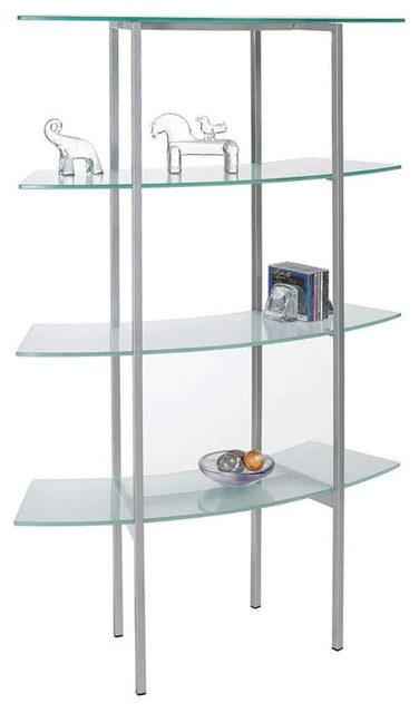 Dainolite Free-standing Glass Bookshelf Frosted Glass Silver Metal  contemporary-display-and-