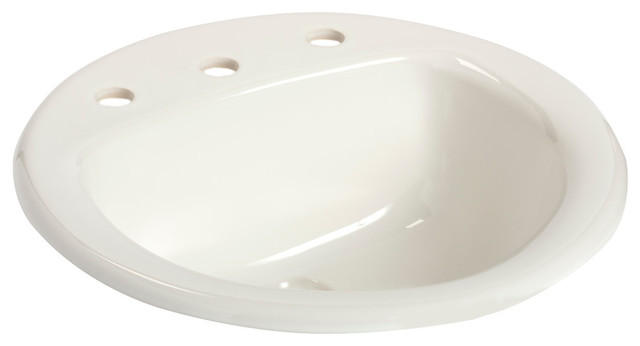 """Round Drop-In Lavatory, 8"""" Faucet Centers, White"""