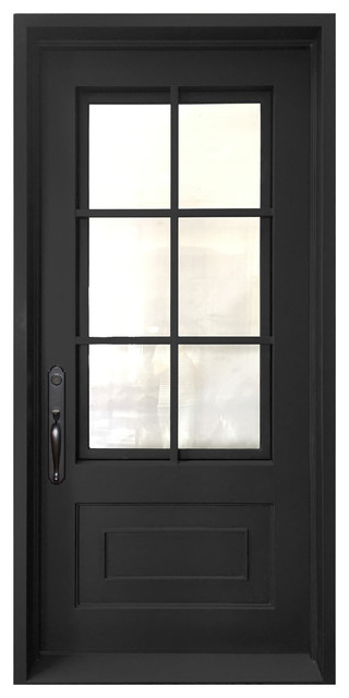 "Classica Wrought Iron Door With 6"" Jamb, Matte Black, 39""x81&x27;, Right Hand."