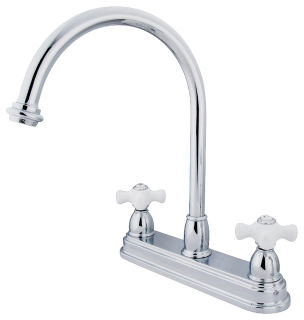 Centerset Kitchen Faucet, Polished Chrome.