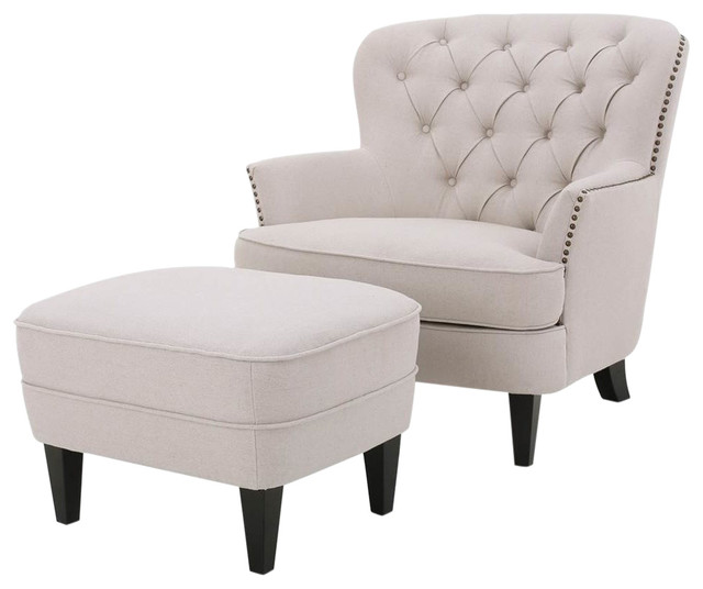 Club Chair with Ottoman in Natural