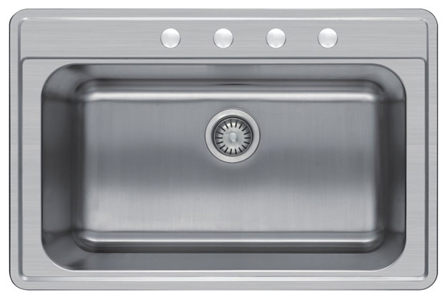Top Mount Stainless Steel Kitchen Sinks top-mount single-bowl stainless steel kitchen sink, 33