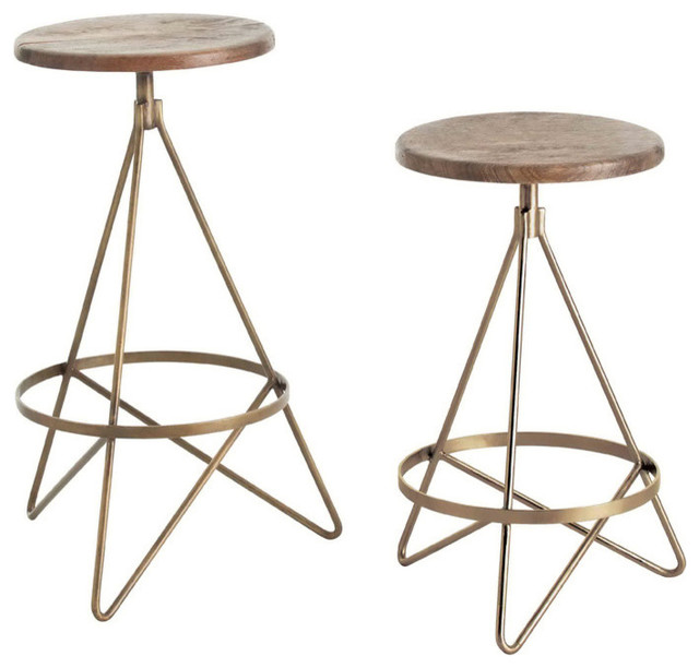 Wyndham Wood Iron Swivel Transitional Bar Stools And