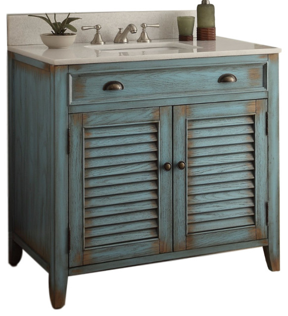 Abbeville Cottage Bathroom Sink Vanity, Distressed Blue, 36\u0026quot;  Beach Style  Bathroom Vanities