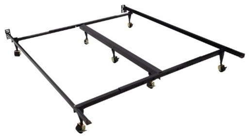 Homcom 7-Leg Adjustable Metal Bed Frame With Rollers, Fits Queen/king.
