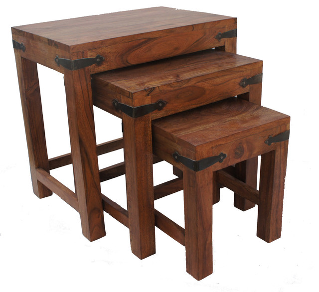 Wood Stacking Tables ~ Thaket wooden nesting tables set of rustic side