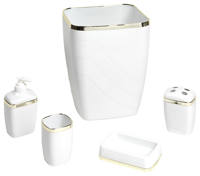 Carnation home fashions 5 piece bath ensemble bathroom for White and gold bathroom accessories
