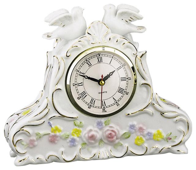 2 Doves Porcelain Tabletop Clock Contemporary Desk And Mantel Clocks