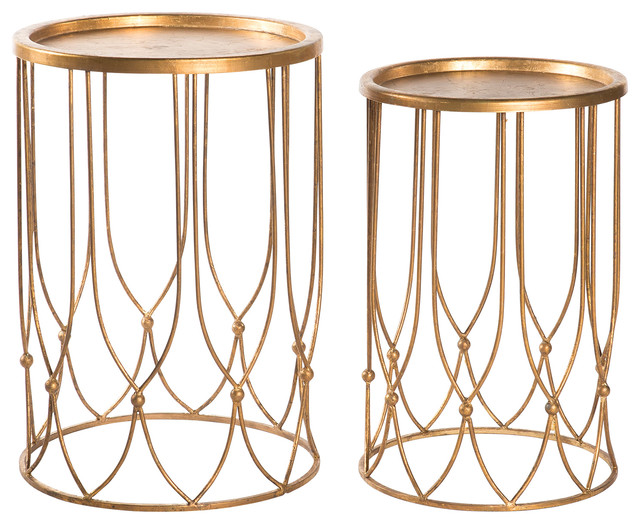 Wishbone Hollywood Regency Accent Round Side Tables, Set Of 2, Gold  Transitional Side