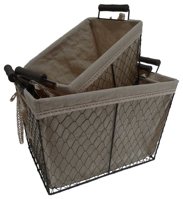 Lined Rectangular Wire Baskets Set Of 3 Traditional