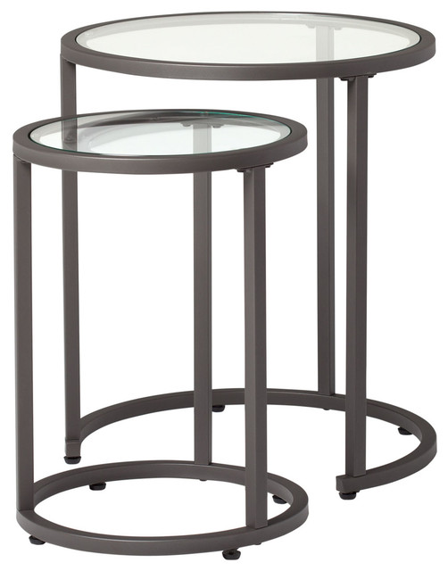 Camber Modern Glass Round Nesting Tables 20, Pewter.