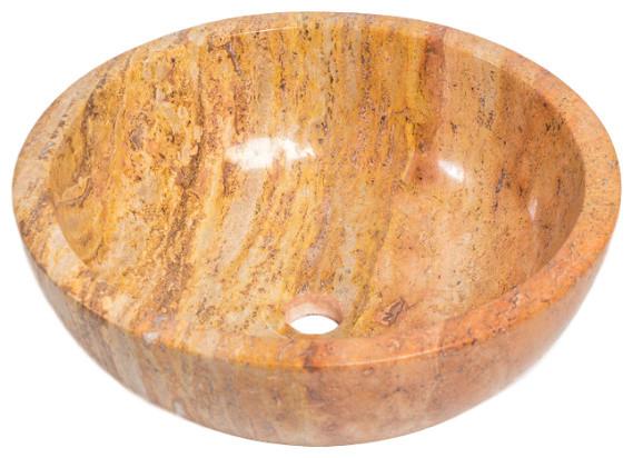 Natural Stone Vessel Sink, Peach Travertine