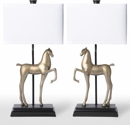 Barbara Cosgrove Lamps Two Horses Table Lamps eclectic table lamps