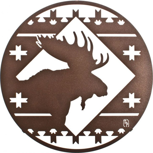 "Rustic Metal Wall Art rustic 16"" round moose lodge metal wall art - rustic - artwork"