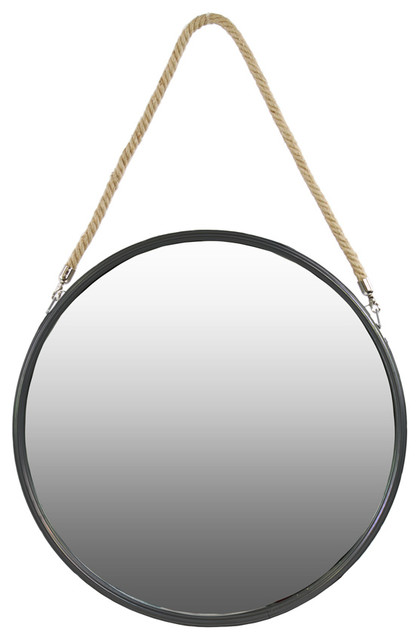 Urban trends collection metal round mirror wall mirrors for Round black wall mirror
